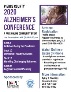 Pierce County 2020 Alzheimer's Conference @ Online
