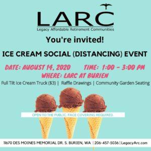 Ice Cream Social (Distancing) Event! @ LARC at Burien 55+ Community!