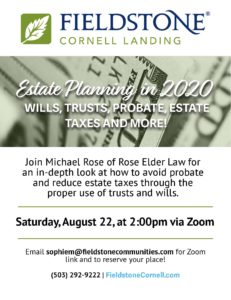 Estate Planning in 2020: Wills, Trusts, Probate, Estate Taxes and More! @ Fieldstone Cornell Landing