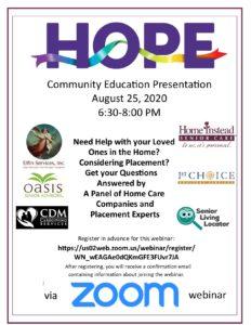HOPE Community Education - Ask the Experts! @ Zoom Webinar