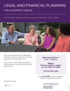 Legal and Financial Planning for Alzheimer's Disease @ Webinar