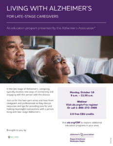 Living with Alzheimer's: For Late-Stage Caregivers @ Webinar