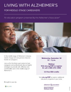 Living with Alzheimer's: For Middle Stage Caregivers @ Virtual