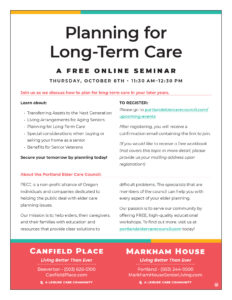 Planning for Long Term Care @ Zoom