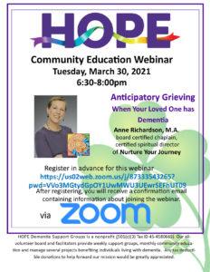 HOPE Community Education - Anticipatory Grieving @ Webinar via Zoom