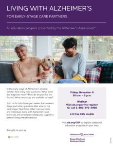Living with Alzheimer's: For Early Stage Caregivers @ Zoom - Virtual