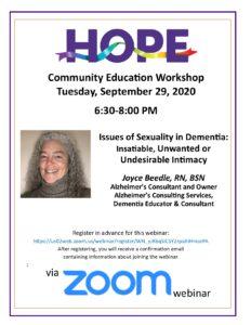HOPE Community Education - Sexuality and Dementia @ Webinar via Zoom