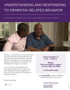 Understanding and Responding to Dementia Related Behaviors @ Virtual