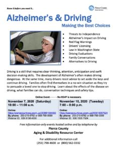 Alzheimer's & Driving Making the Best Choices @ https://piercecountywa.zoom.us/j/93615057524