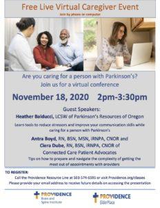 Parkinson's Virtual Caregiver Event @ Virtual