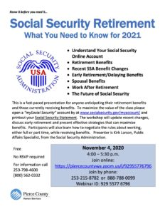 Social Security Retirement: What You Need to Know for 2021 @ https://piercecountywa.zoom.us/j/92955776796