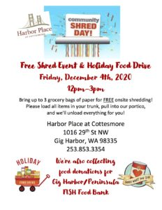 Free Shred Event & Holiday Food Drive @ Harbor Place at Cottesmore