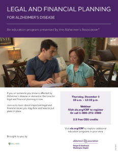 Legal and Financial Planning for Alzheimer's Disease @ Zoom - Virtual