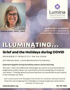 Grief and the Holidays during COVID @ ZOOM