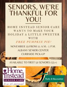 Pumpkin Pie Giveaway @ Albany Senior Center