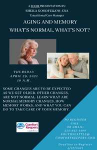 Aging and Memory, What is normal and what is not. @ Online