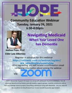 Hope Community Education - Navigating Medicaid When Your Loved One has Dementia @ Webinar via Zoom