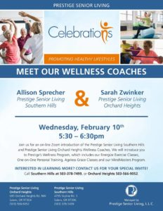 Meet our Wellness Coaches @ Prestige Southern Hills and Orchard Heights Zoom Call