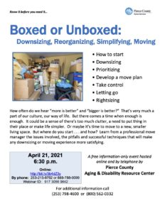 Boxed or Unboxed: Downsizing, Reorganizing, Simplifying, Moving @ Online
