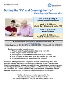 """Dotting the """"i's"""" and Crossing the """"t's"""" Providing Legal Peace of Mind Apr. 8th-29th @ Online"""