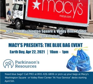 Macy's Blue Bag Earth Day Event w/ Parkinson's Resources of Oregon @ Macy's Washington Square Parking Lot