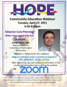 Advance Care Planning When Your Loved One has Dementia @ Webinar via Zoom