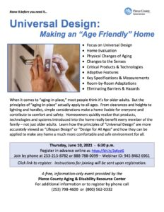 """Universal Design: Making an """"Age Friendly"""" Home @ Online"""