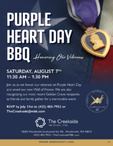 PURPLE HEART DAY BBQ Wall of Honor Dedication @ The Creekside Independent Senior Living Community