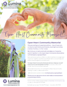 Open Heart Community Memorial @ Starker Arts Park