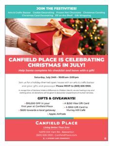 Canfield Place is celebrating Christmas in July! @ Canfield Place