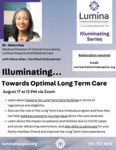 Illuminating: Towards Optimal Long Term Care @ Zoom