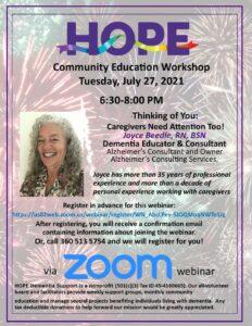 HOPE Community Education - Caregivers Need Attention Too! @ Webinar via Zoom