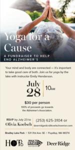 Yoga for a Cause: an Alzheimer's Fundraiser @ Bradley Lake Park