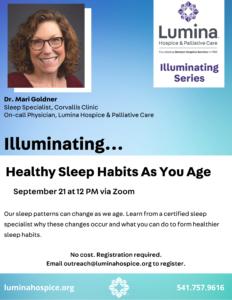 Illuminating: Healthy Sleep Habits As You Age @ Zoom