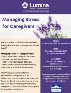 Managing Stress for Caregivers @ Zoom