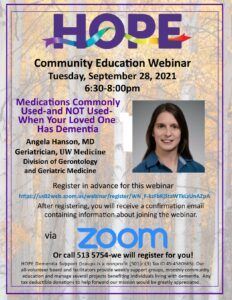 Medications Commonly Used-and NOT Used- When Your Loved One has Dementia @ Webinar via Zoom