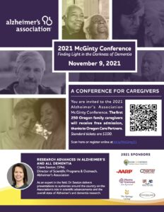 2021 McGinty Conference: Finding Light in the Darkness of Dementia @ Virtual Event
