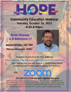 HOPE Community Education - Brain Disease: Is It Alzheimer's? @ Webinar via Zoom