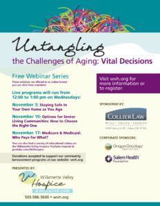 Untangling the Challenges of Aging: Vital Decisions @ online Webinar